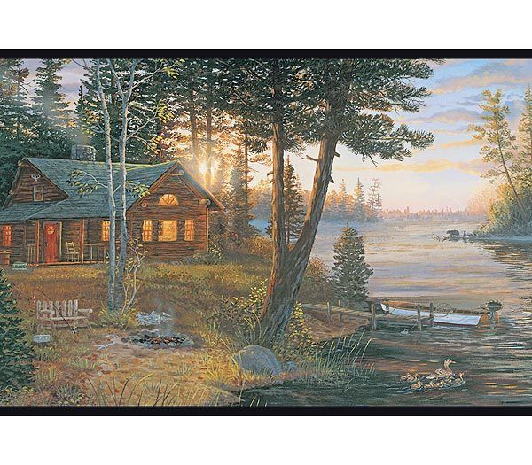 Interior Place   Cabin and Lake Wallpaper Border 2999 600x525