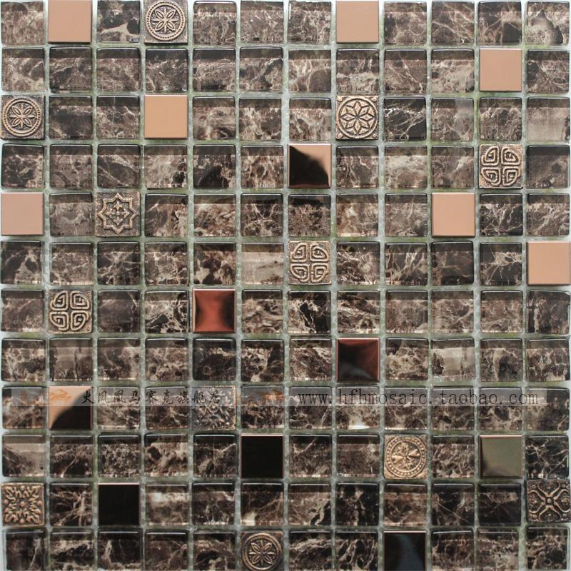Glass stainless steel rose gold bronze resin mosaic mirror tile 143 800x800