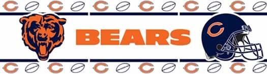 Chicago Bears NFL Peel and Stick Wallpaper Bord   Wallpaper Border 525x146