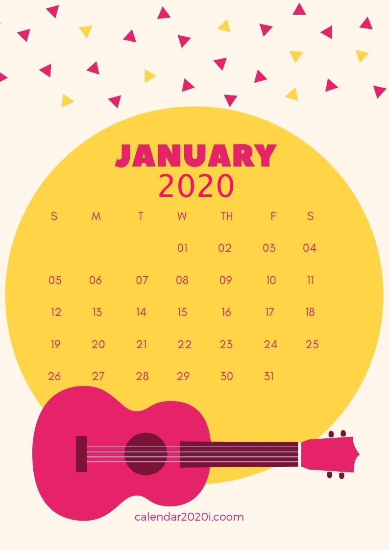 Monthly 2020 iPhone Calendar Wallpaper 794x1123