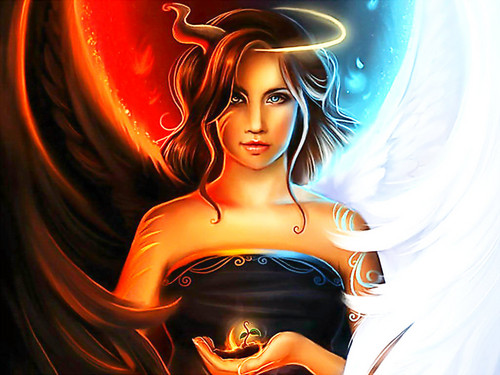 Angel and Devil   Fantasy Wallpaper 36575820 500x375
