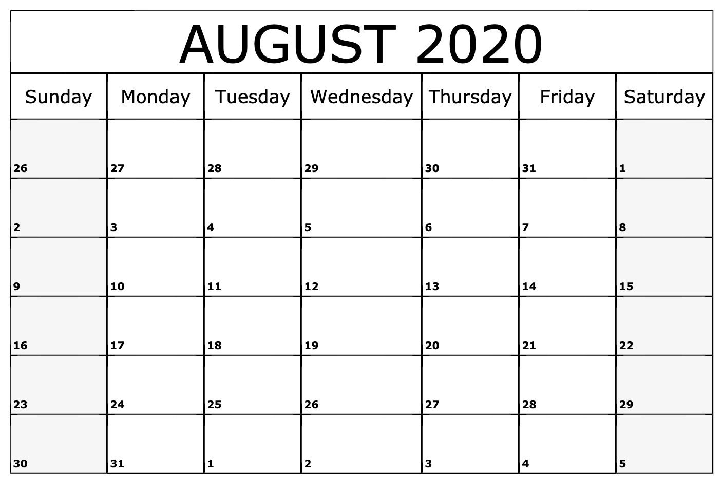 August 2020 Calendar Template Printable calendar template Excel 1406x929