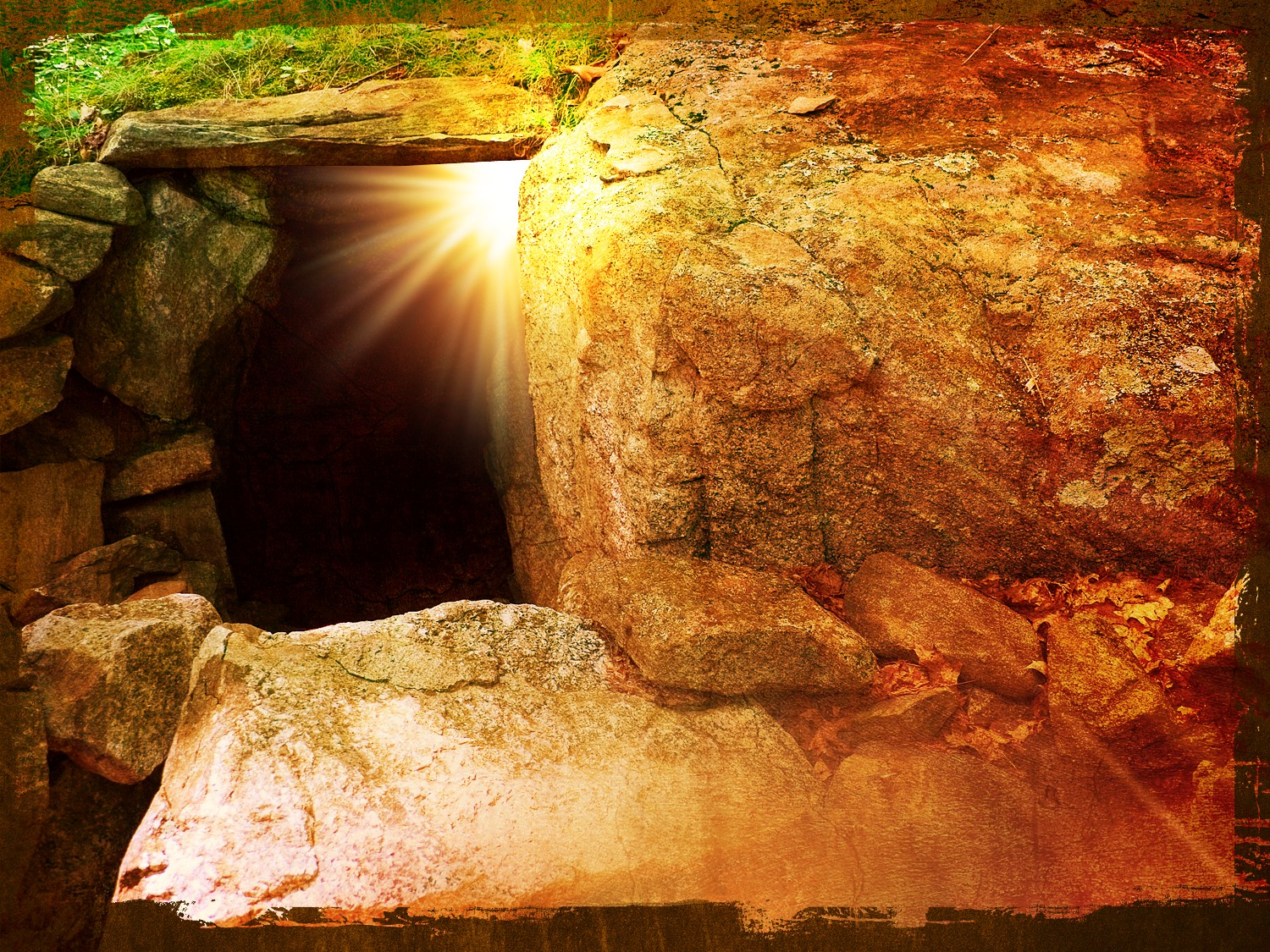 He Is Risen Tomb Easter Wallpaper Background 1500x1125