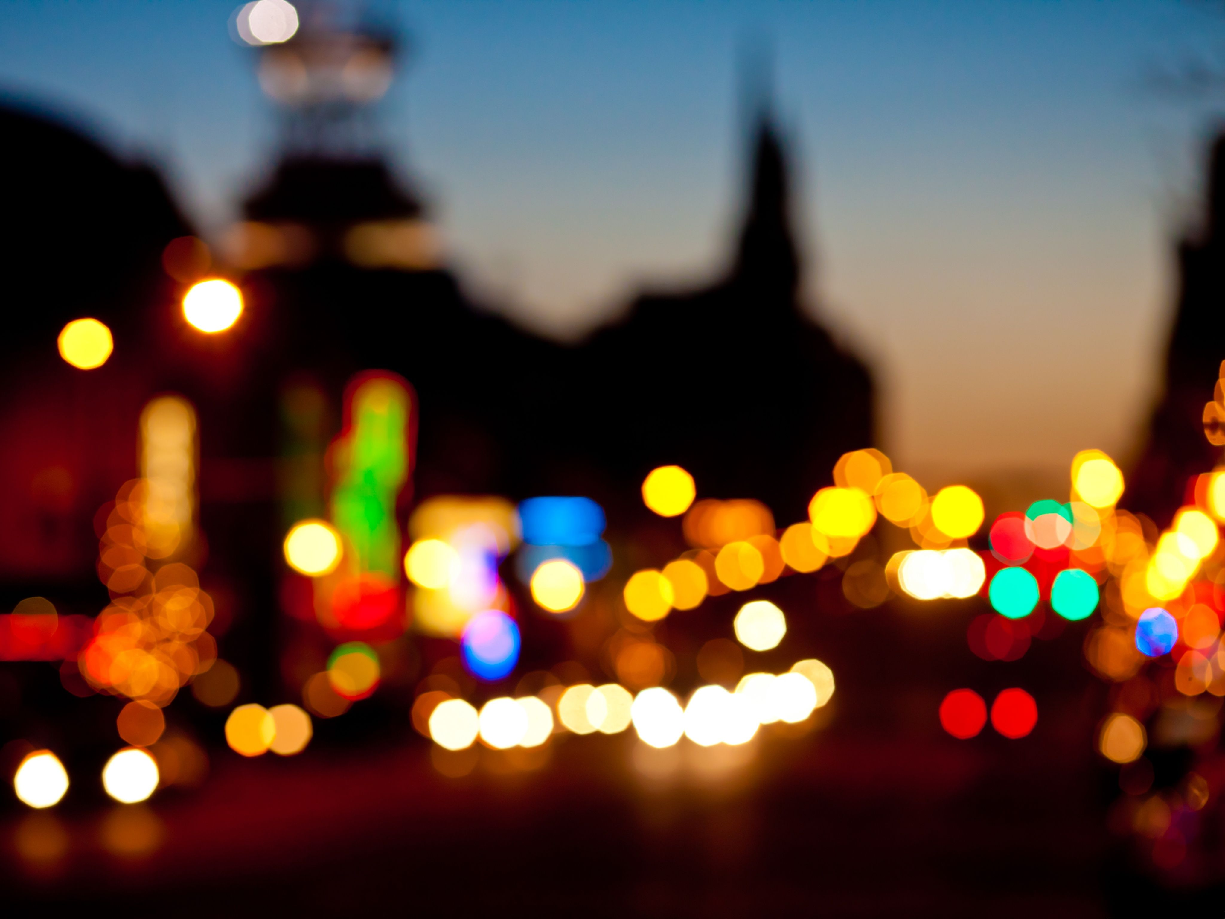 Wallpapers and Backgrounds Night Car Lights Bokeh Effect 4096x3072