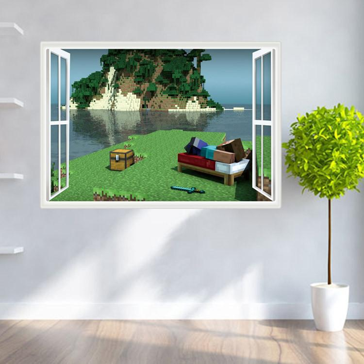 Minecraft 3D Wall Sticker Kids Home Dcor Room Wall Decal Cartoon 750x750