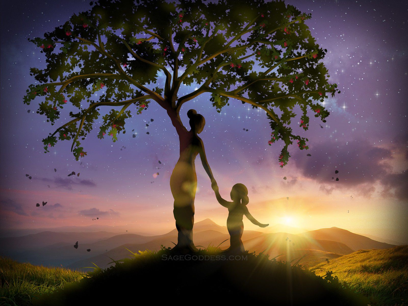 Custom Sage Goddess Downloadable Tree of Life Wallpaper 1600x1200