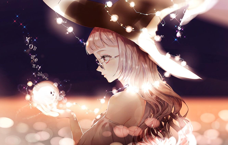 Wallpaper girl lights hat anime art glasses garland touhou 1332x850