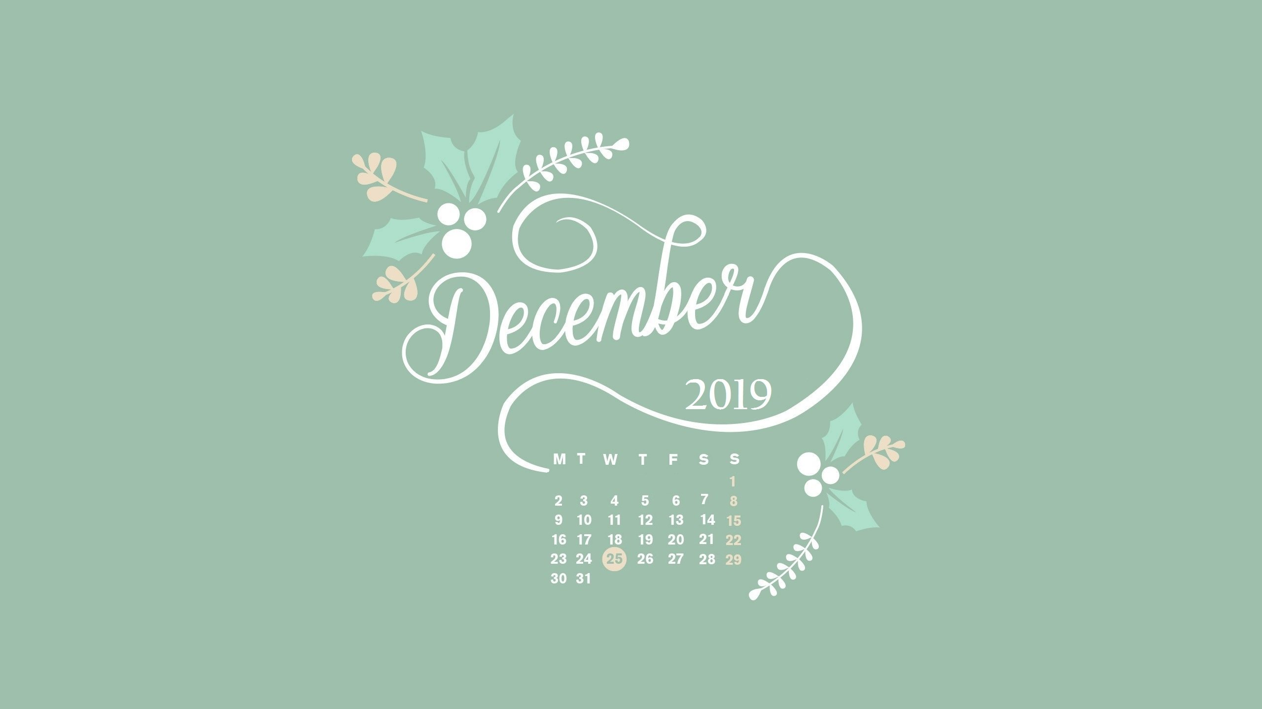 December 2019 Desktop Calendar HD Wallpaper 2560x1440