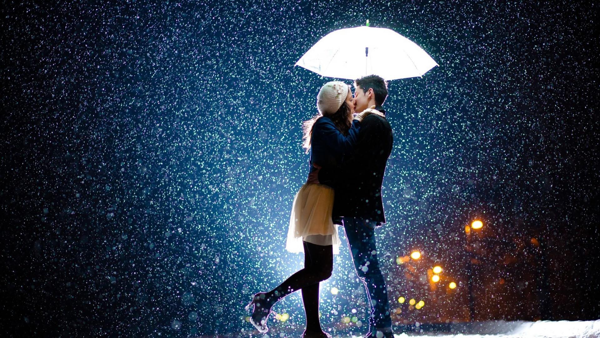Download 1920x1080 HD Wallpaper umbrella snowfall kiss young 1920x1080