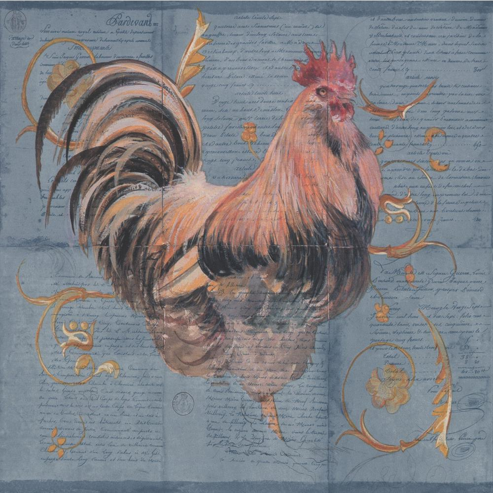 York Wallcoverings Abstract Rooster Chicken Chicks on Letter Pages 1000x1000