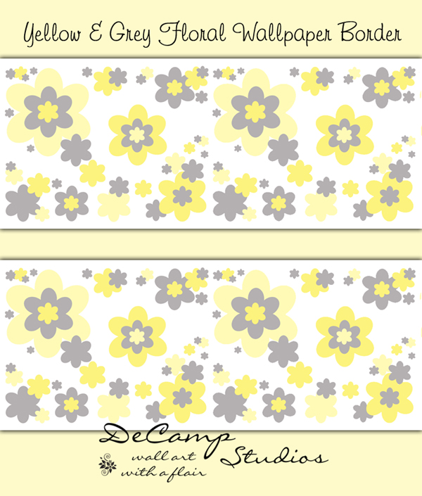 Yellow Grey Floral Wallpaper Border Wall Decals Baby Girl Flower [479 600x705
