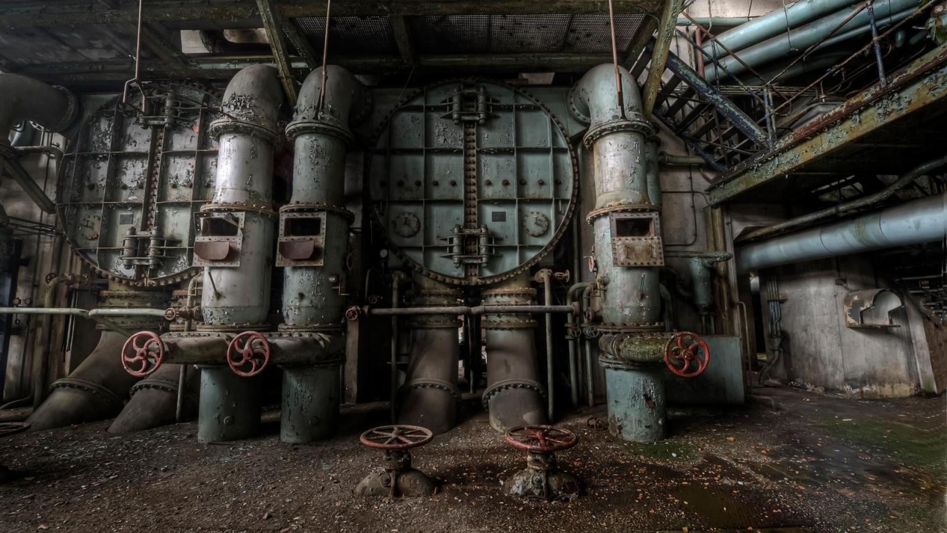Cityscapes europe machinery abandoned factory wallpaper 1920x1080