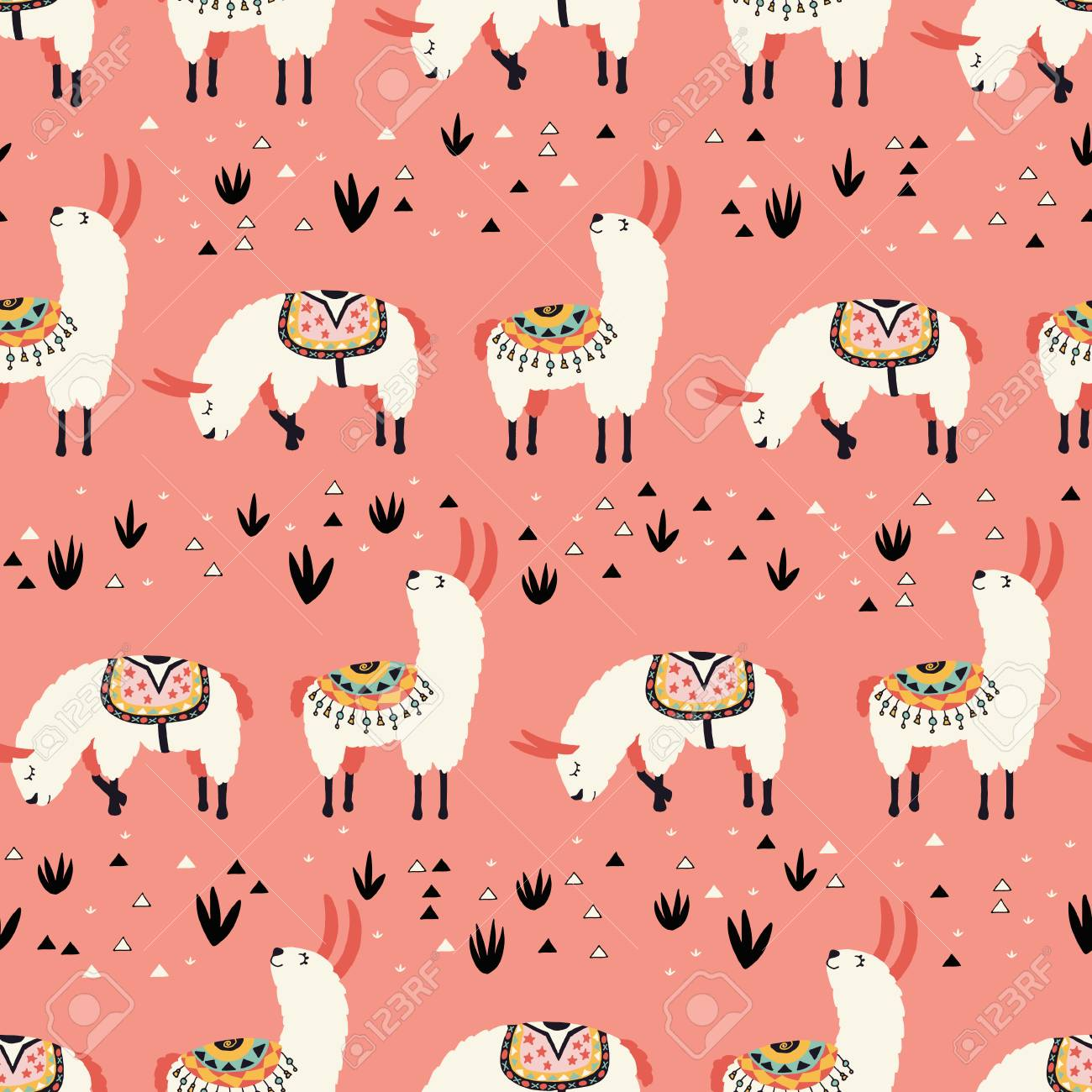 White Llamas On A Pink Background Seamless Pattern With Lovely 1300x1300