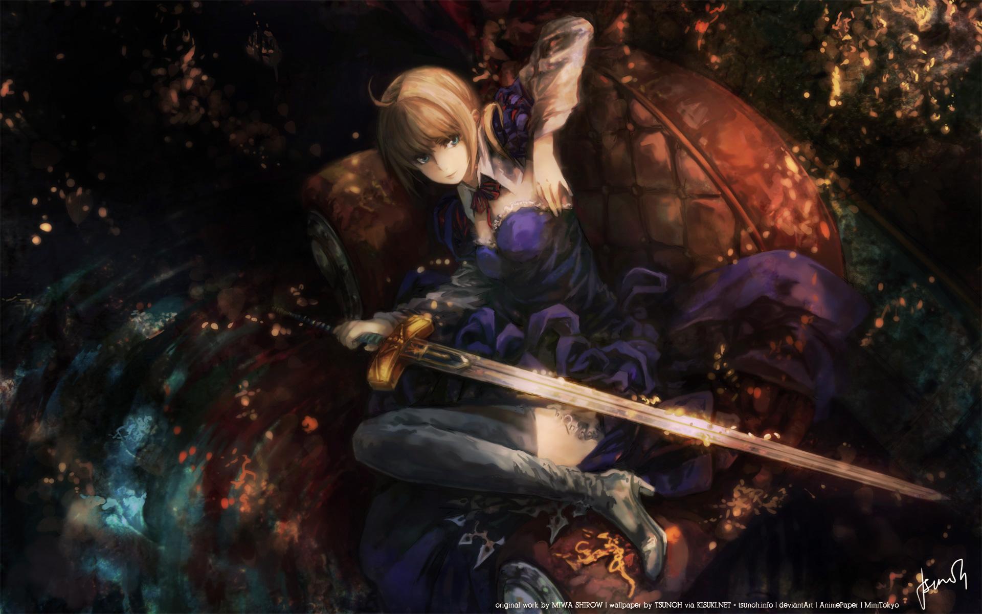 Konachancom   137977 fate stay night miwa shirow saber sword weapon 1920x1200