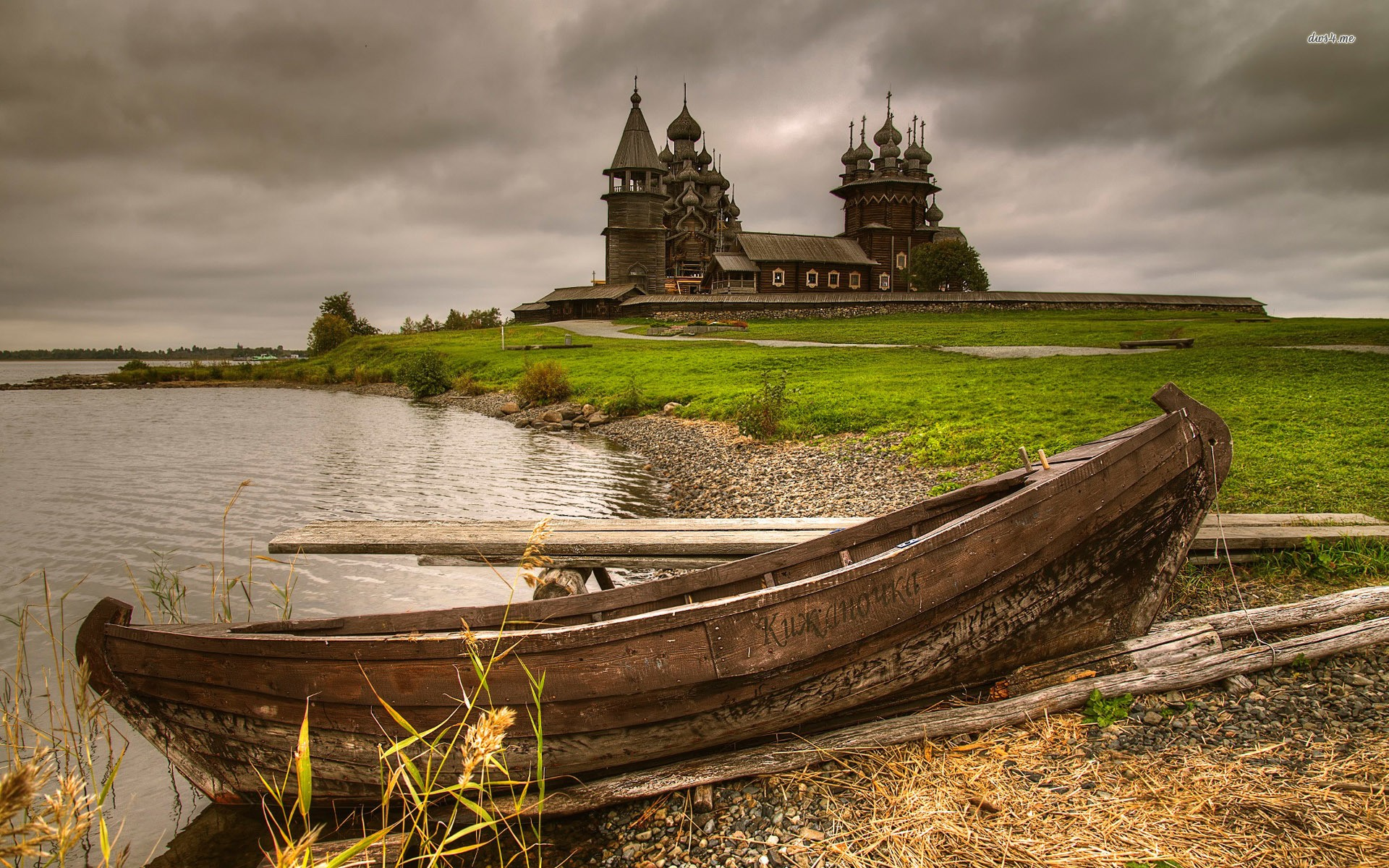 Old Boat On Rocky Shore By Thewooden Church World 1920x1200