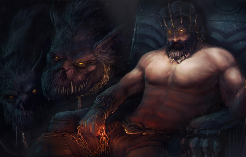 Wallpaper the game art God of War Cerberus God Hades 1332x850