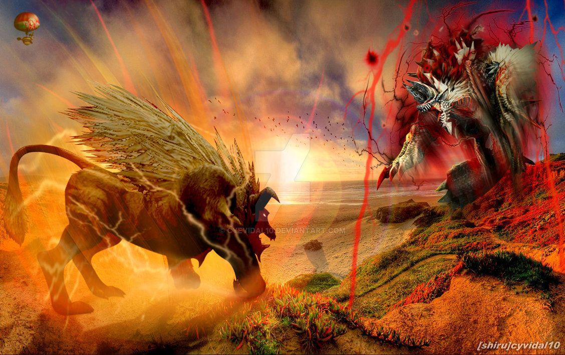 Monster Hunter   Ultimate Rajang vs Dark Jinouga by cyevidal10 on 1128x708