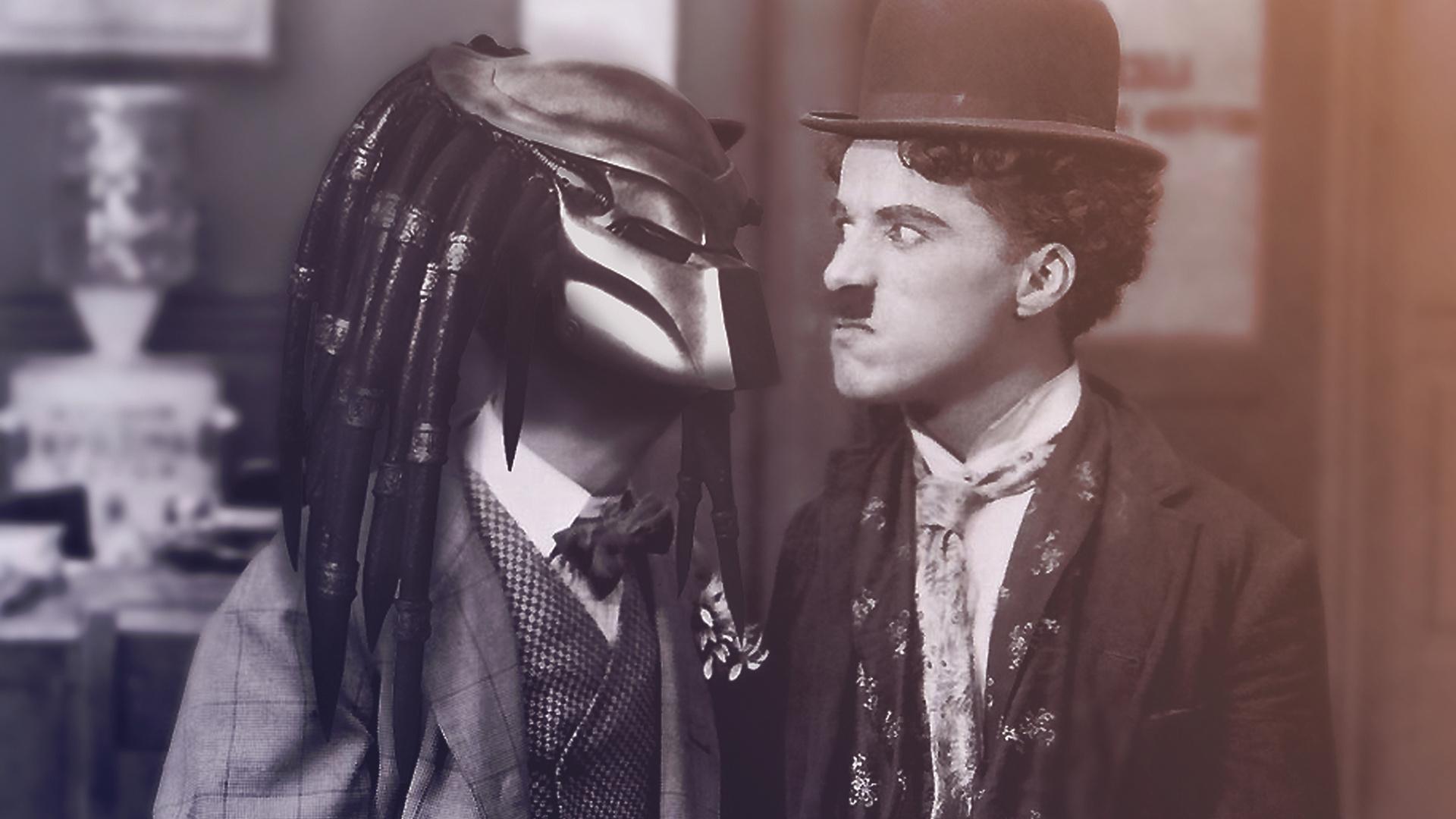 Charlie Chaplin vs Alien wallpaper 1920x1080