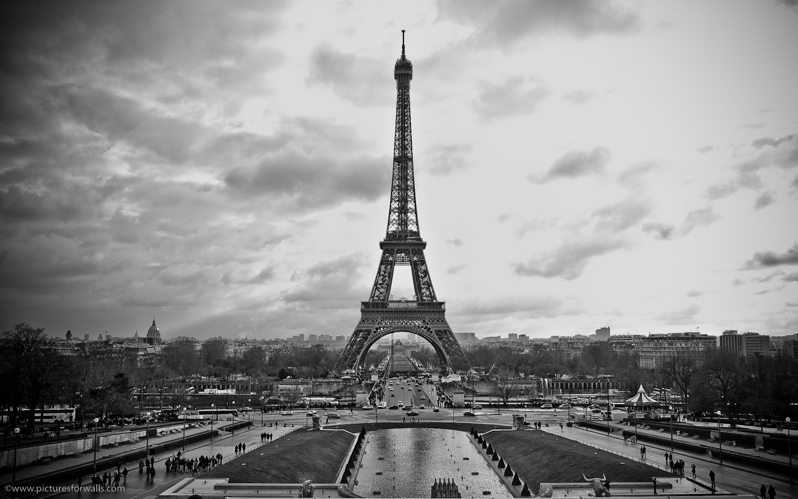 Black And White Eiffel Tower Wallpaper HD Wallpaper WallpaperLepi 1600x1001