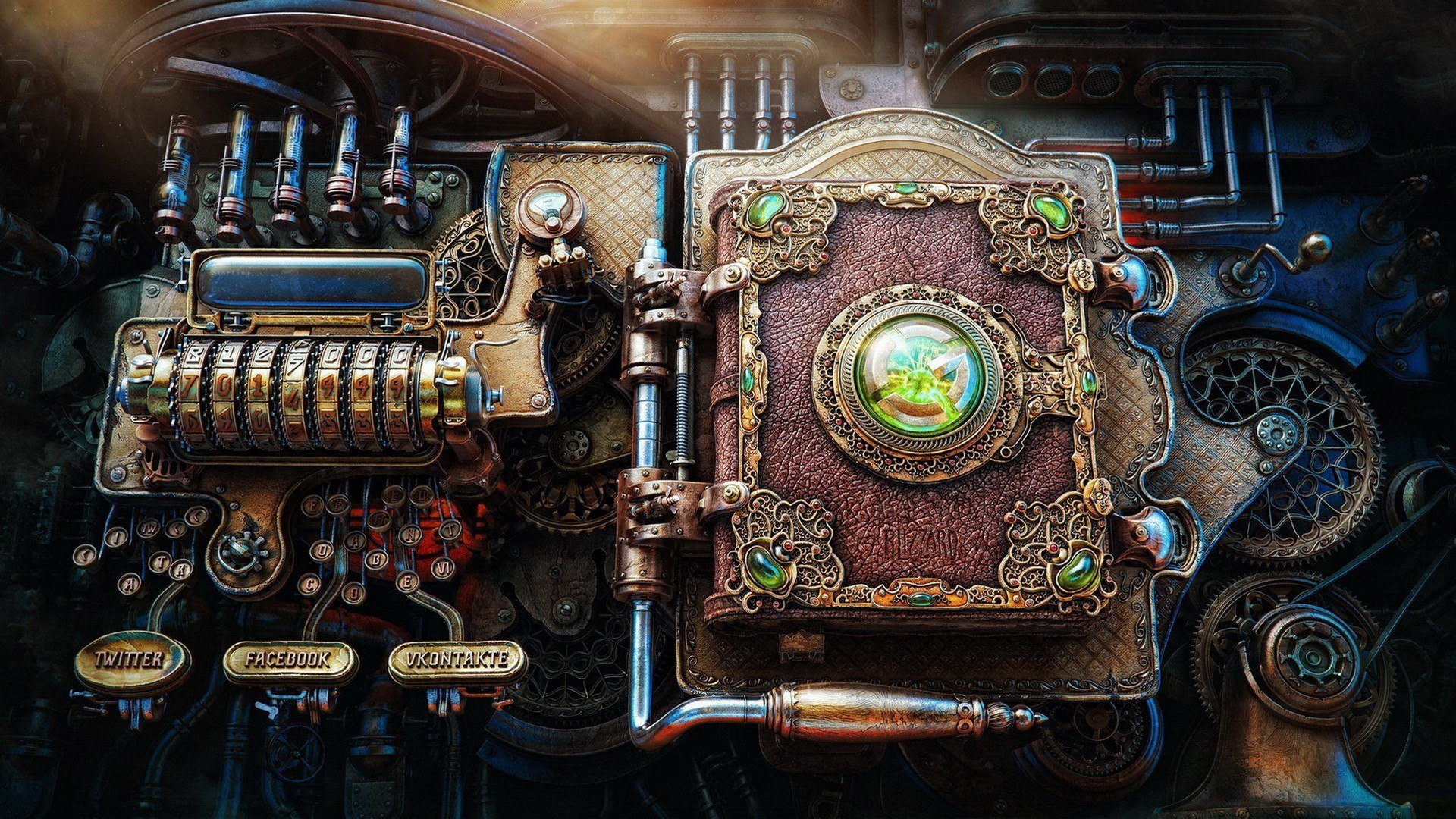Steampunk computer panel wallpapers and images   wallpapers pictures 1920x1080