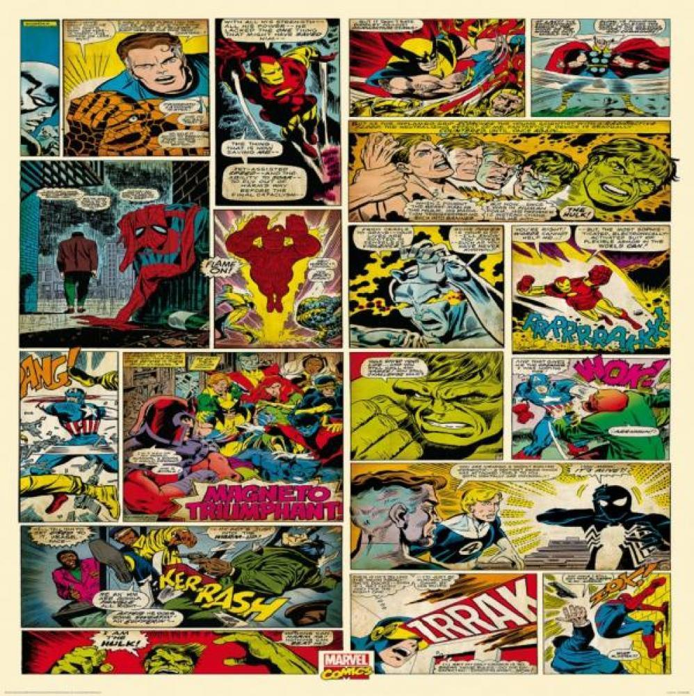 Wall Easy Hang Wallpaper Mural Marvel Comics Cartoon Strip 1 58M x 2 998x1000