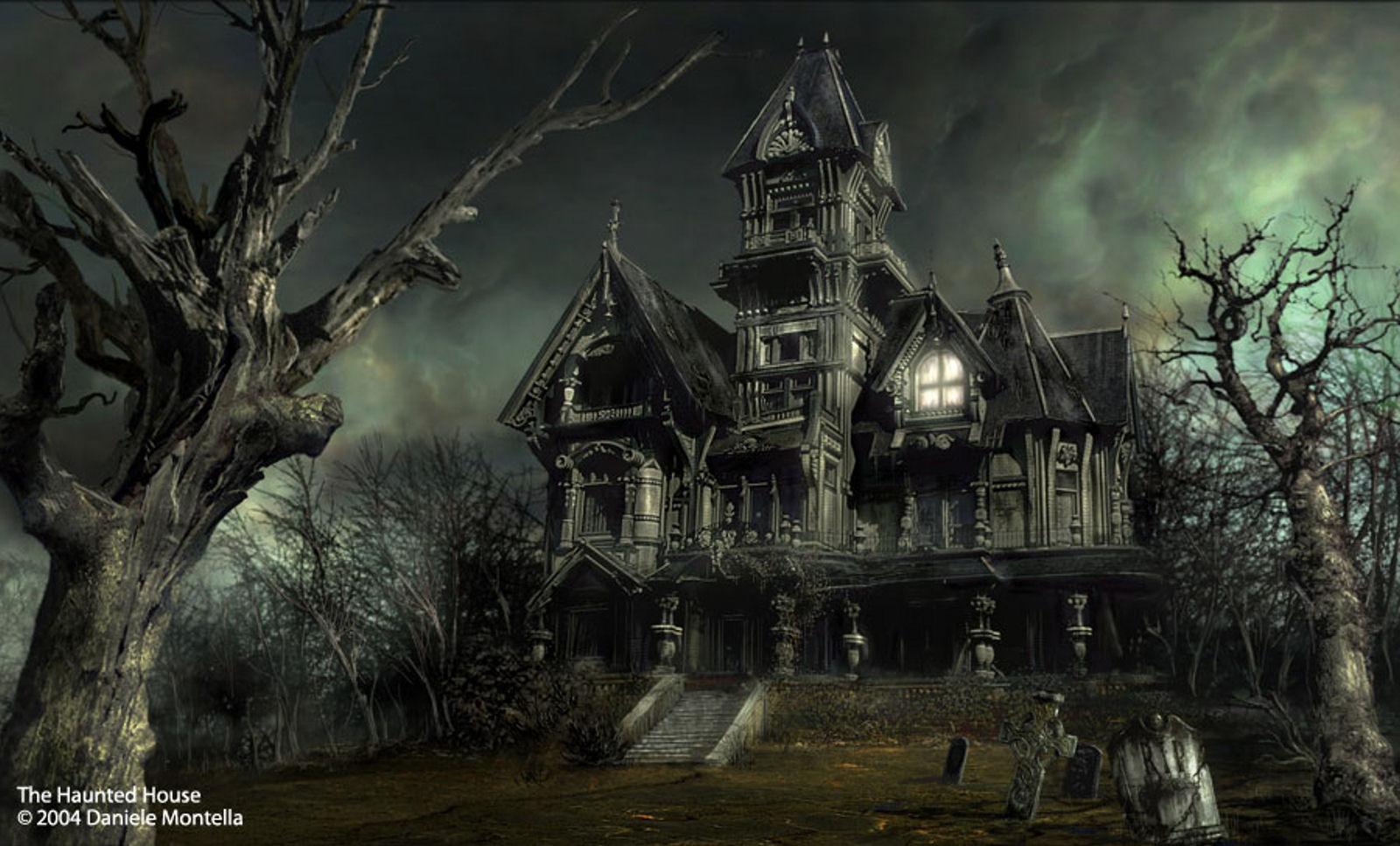 FunMozar Halloween Hunted House Graveyard Wallpapers 1600x967