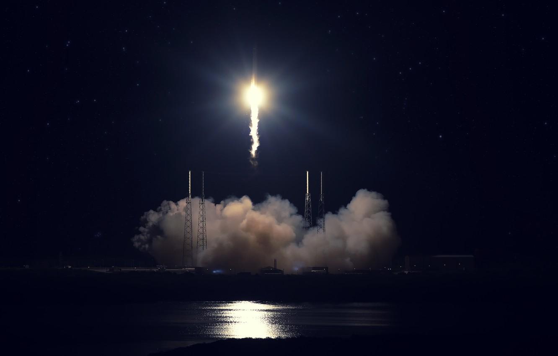 Wallpaper start SpaceX Falcon 9 Cape Canaveral Dragon Fire 1332x850