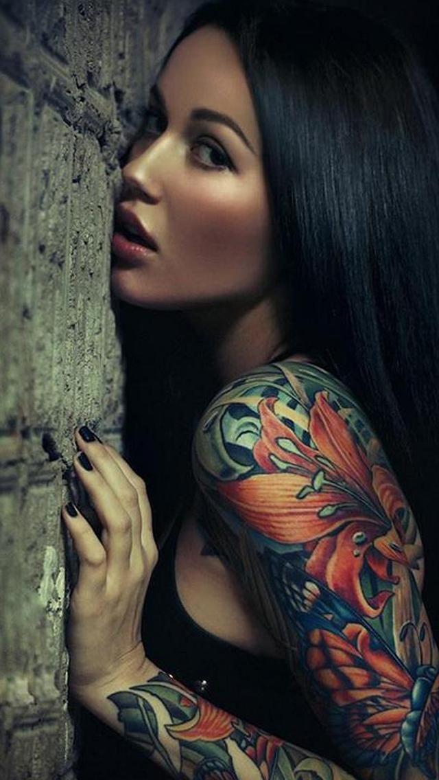 Sexy Sleeve Tattoo Girl iPhone 5 Wallpaper iPod Wallpaper HD 640x1136