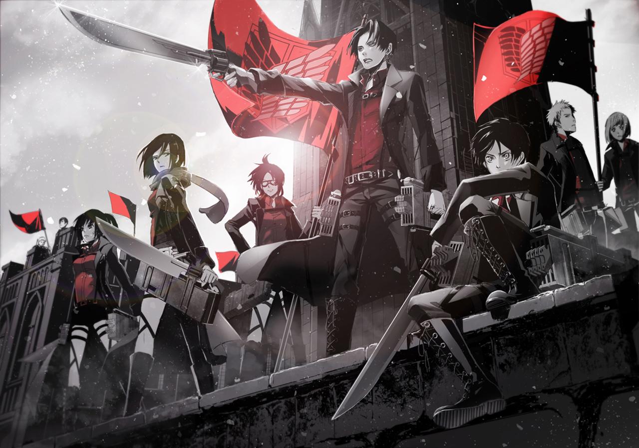 Titan Shingeki no Kyojin Anme Character Group Sword Blade HD Wallpaper 1280x898