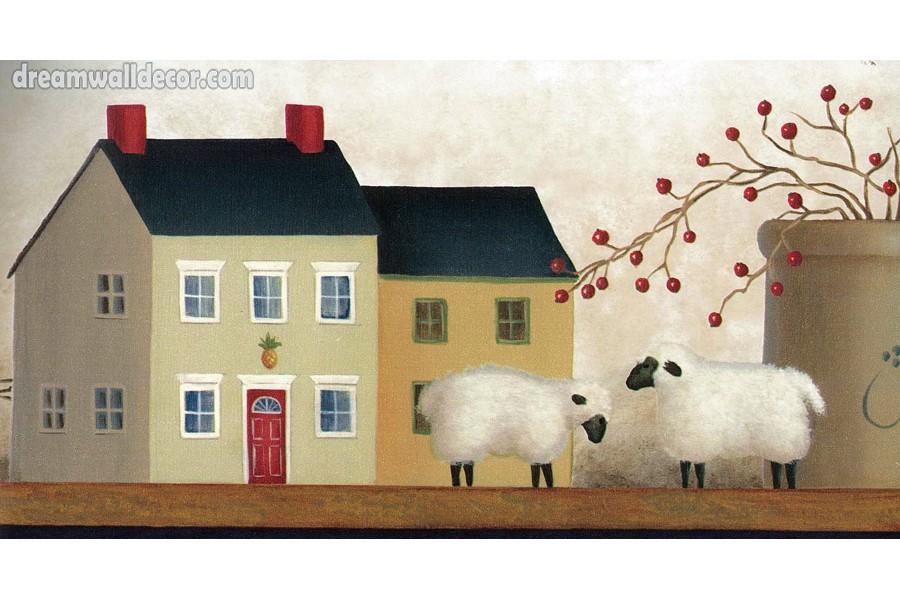 Country Sheep House Wallpaper Border 900x600