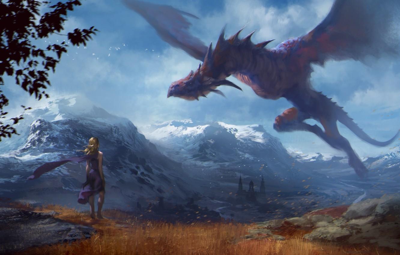 Free Download Wallpaper Flight Mountains Dragon Girl Art