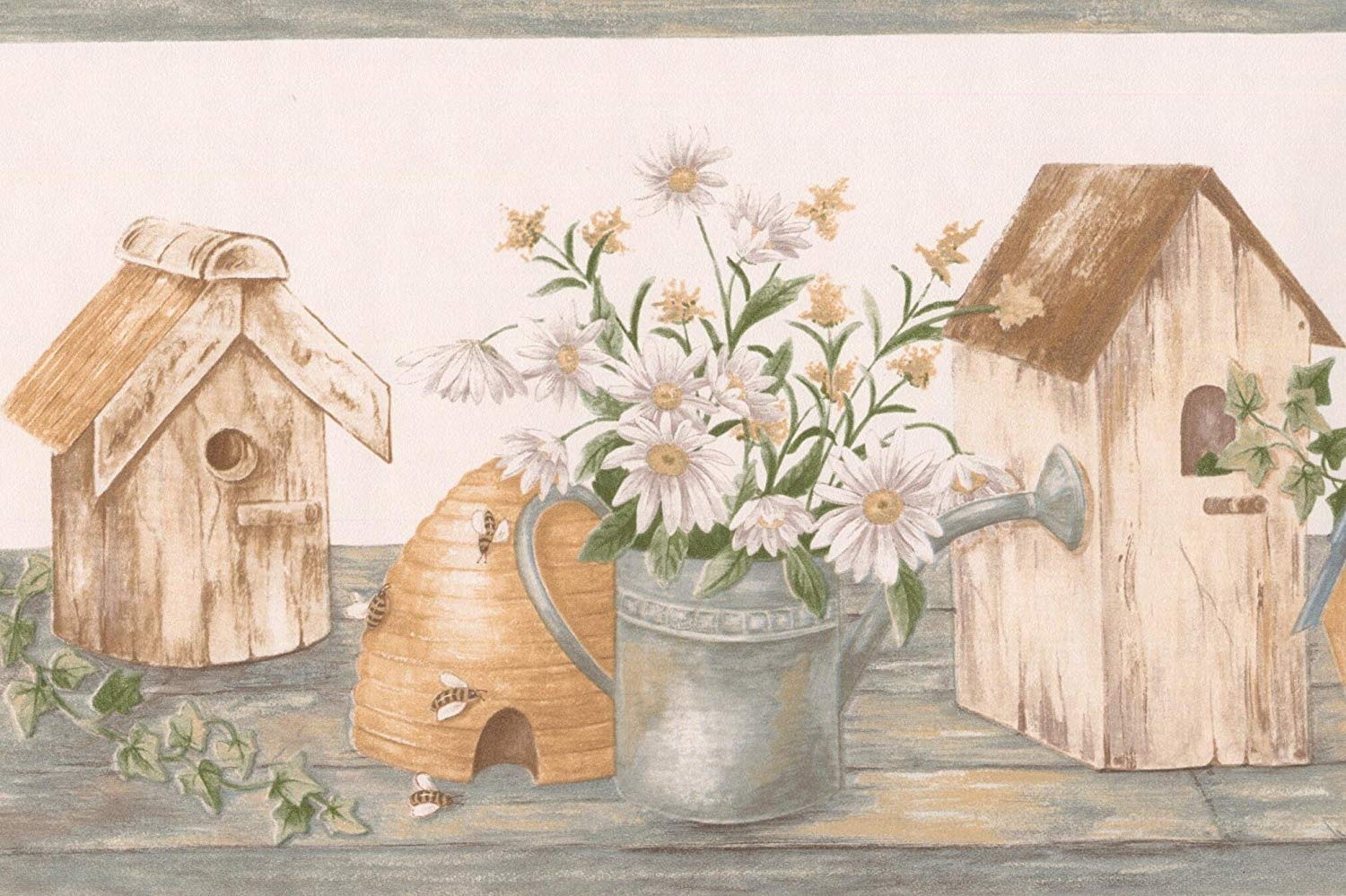 White Chamomile Flowers Birdhouses Farmhouse Wallpaper Border 1500x999
