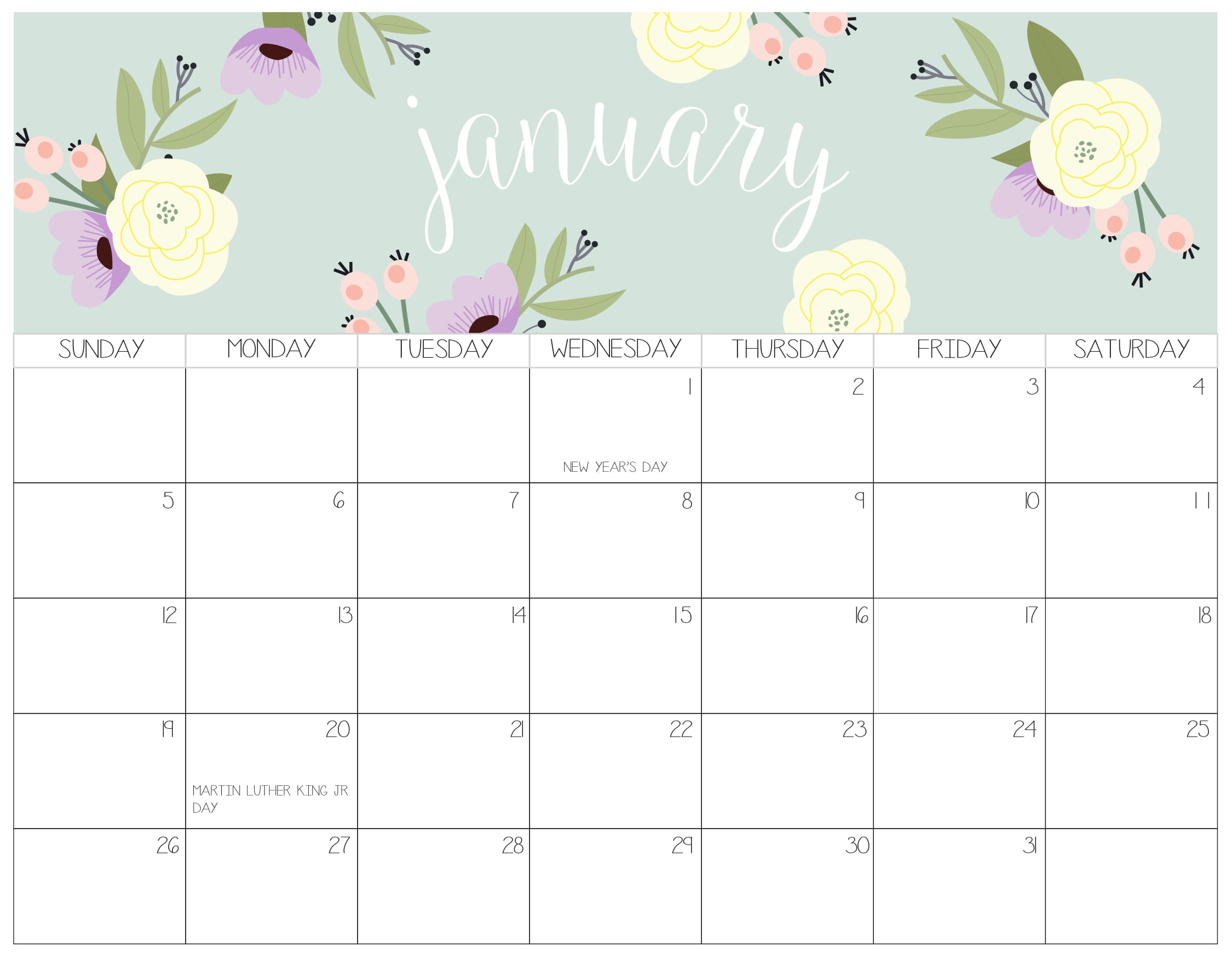 Cute January 2020 Calendar For Kids   2019 Calendars for Students 2250x1750
