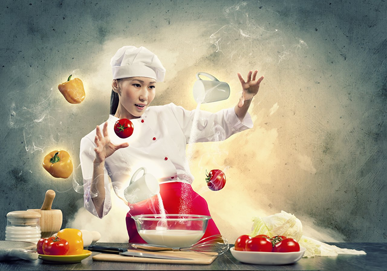 Photo Hat Girls Asian Creative Cook Pepper Vegetables 1280x897