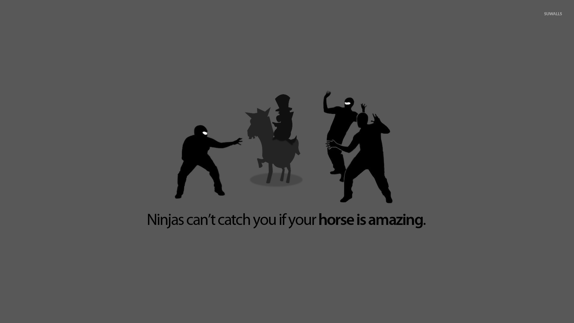 Ninjas cant catch you if your horse is amazing wallpaper   Meme 1920x1080