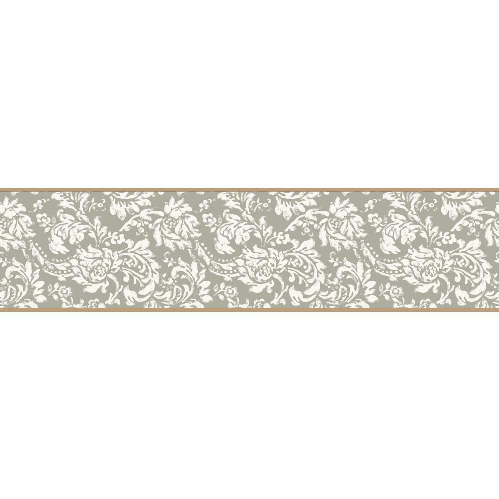 Free Download Kb8559b Silver White Damask Wallpaper Border Ebay