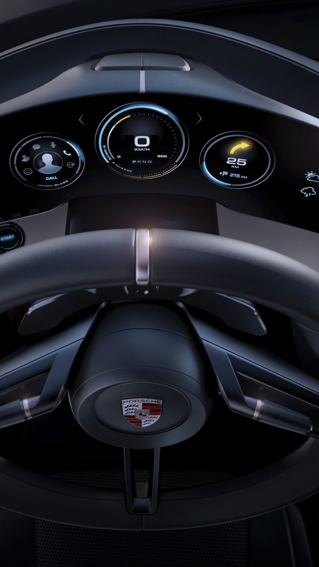 Wallpaper Porsche Taycan Electric Cars supercar 800v interior 640x1138