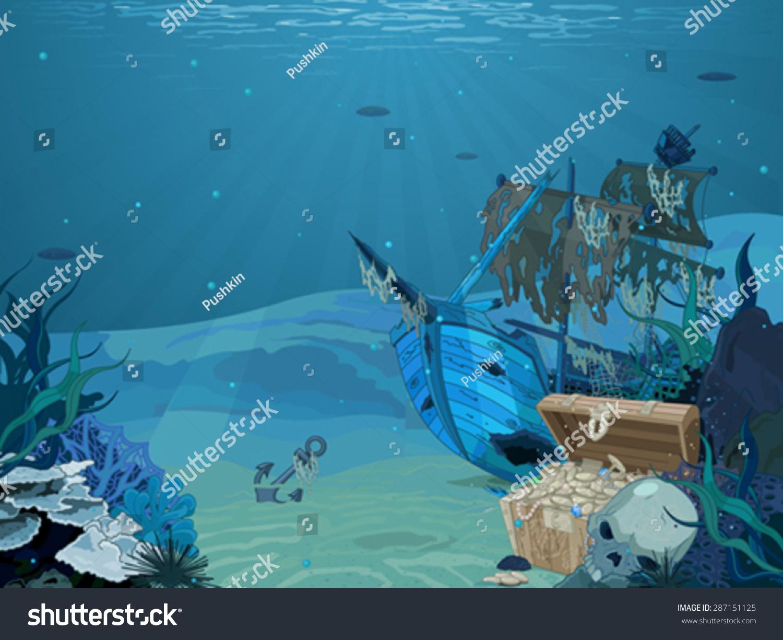 Illustration Sunken Sailboat On Seabed Background Stock Vector 1500x1225