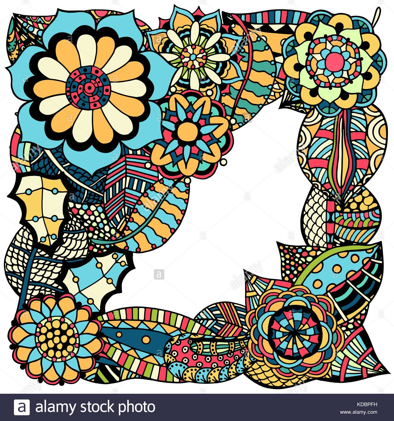Colored Ornate floral pattern with flowers Doodle sharpie floral 1300x1390