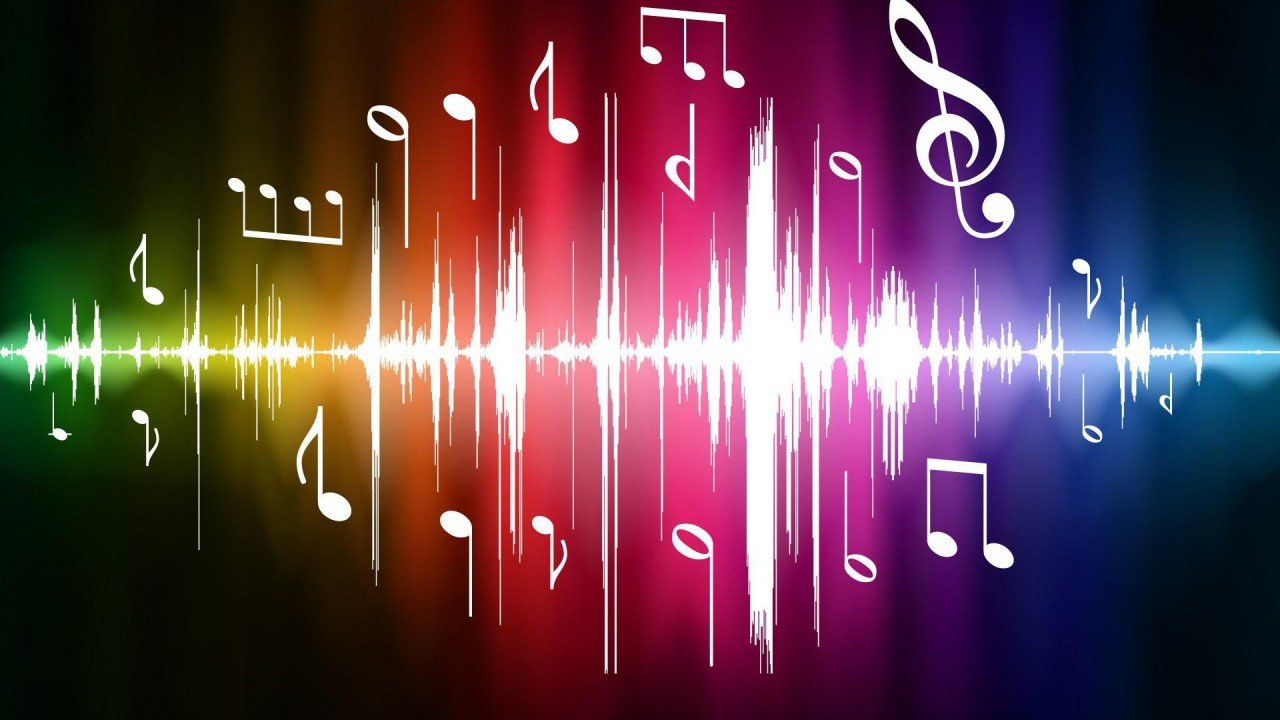 Neon Music Notes Wallpaper