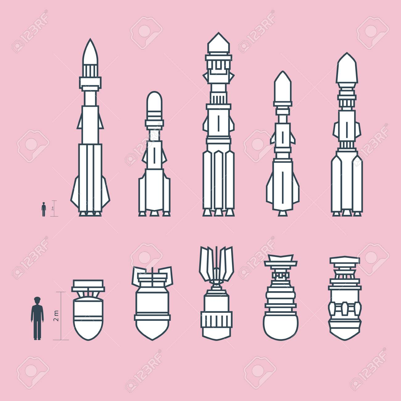 Set Of Military Missiles And Ammunition On Pink Background 1300x1300