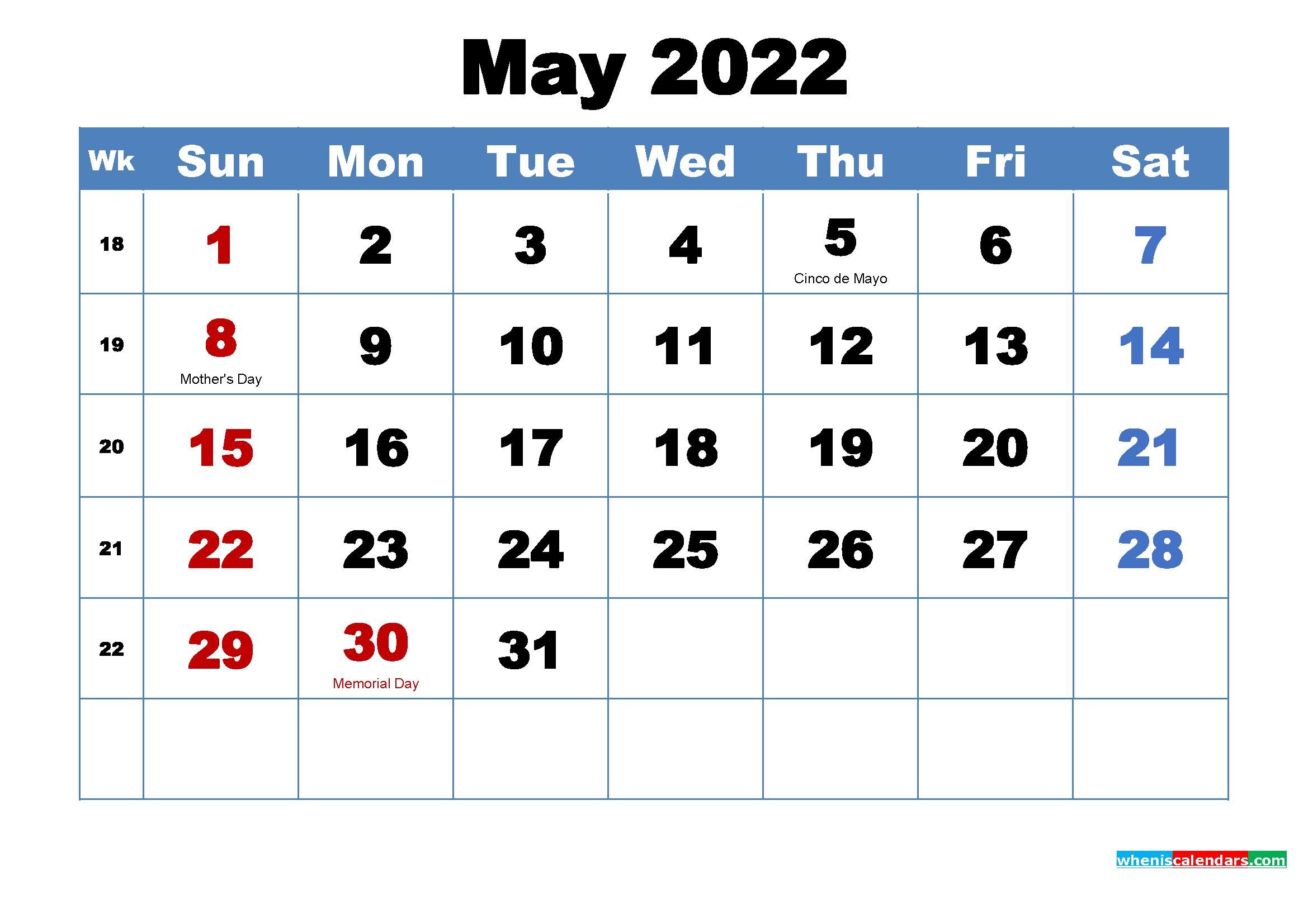 May 2022 Calendar Wallpaper Download 2339x1654