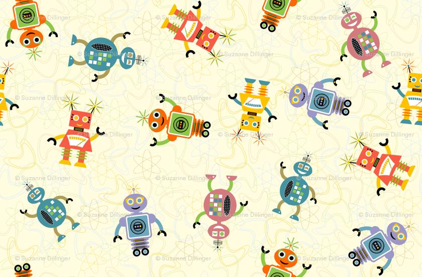 Retro Robot Desktop Wallpaper Cute retro robots 840x552