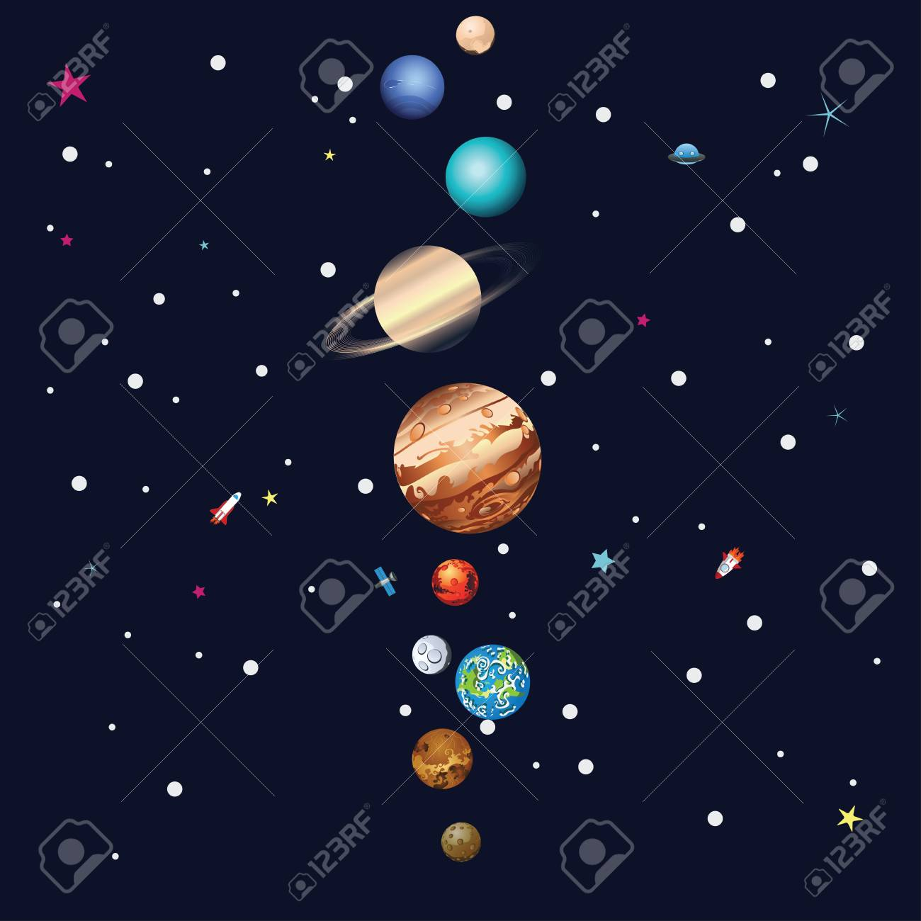Cartoon Parade Of Colorful Planets Outer Space Background Royalty 1300x1300