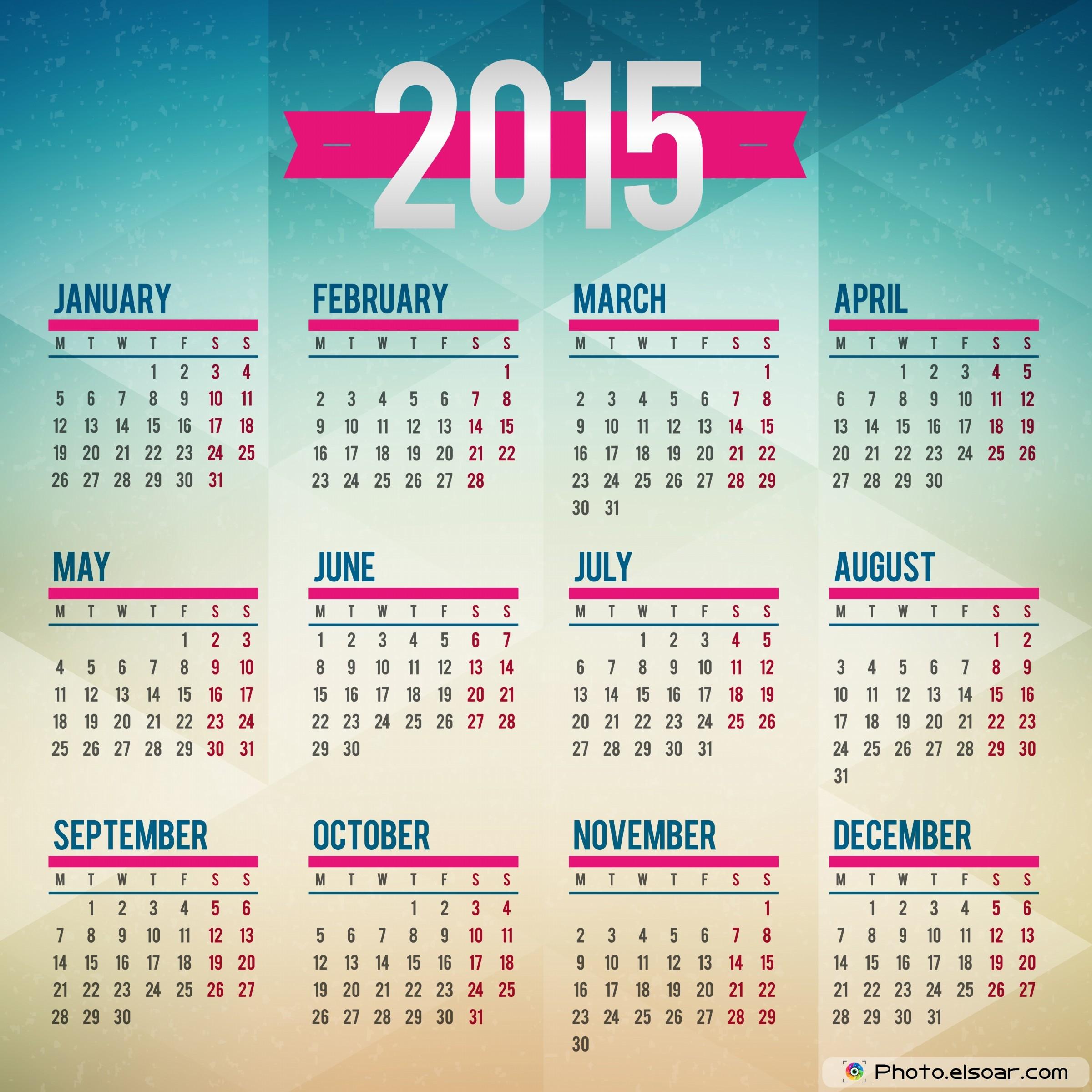 Calendar 2015 Cyan Design 2400x2400