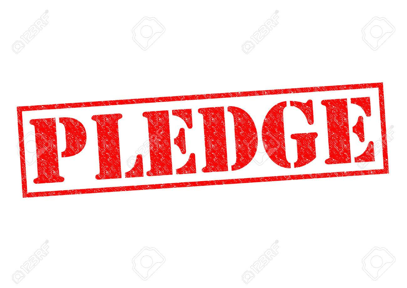 PLEDGE Red Rubber Stamp Over A White Background Stock Photo 1300x919