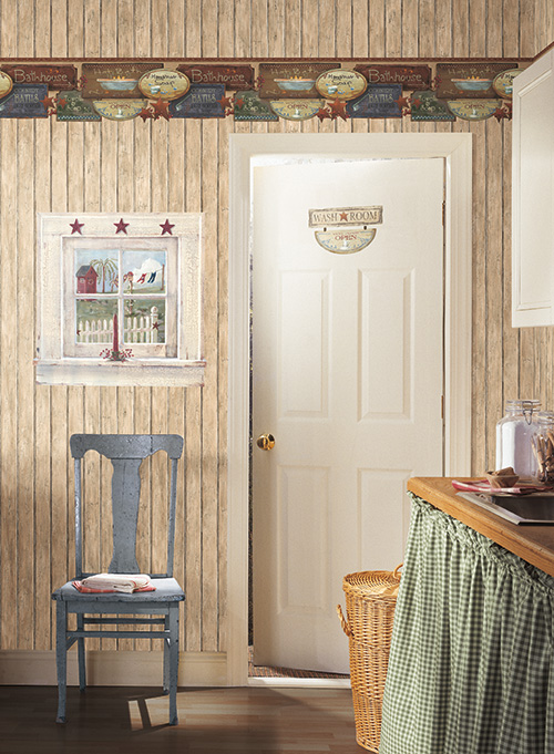 thin stripe wallpaper paired with a small gingham wallpaper met 500x681