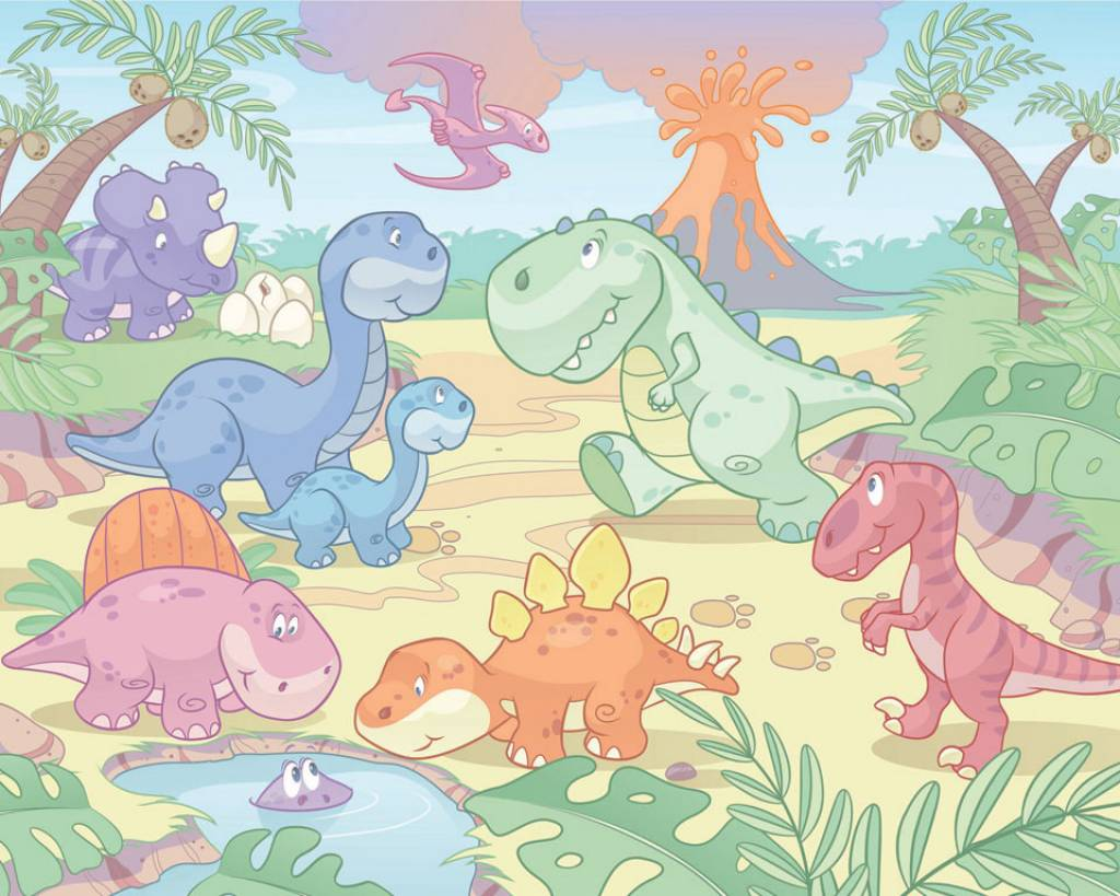Wallpaper baby room wallpapersafari for Dinosaur mural ideas