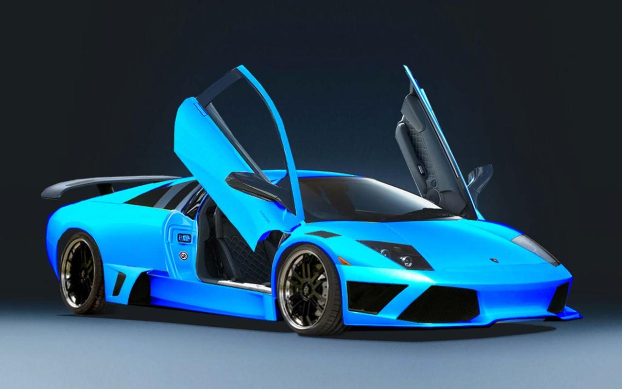 Wallpaper Lamborghini Murcielago Blue 1280x800