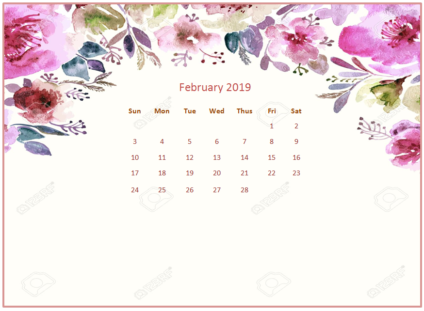 2019 Monthly Floral Calendar Wallpaper 874x642